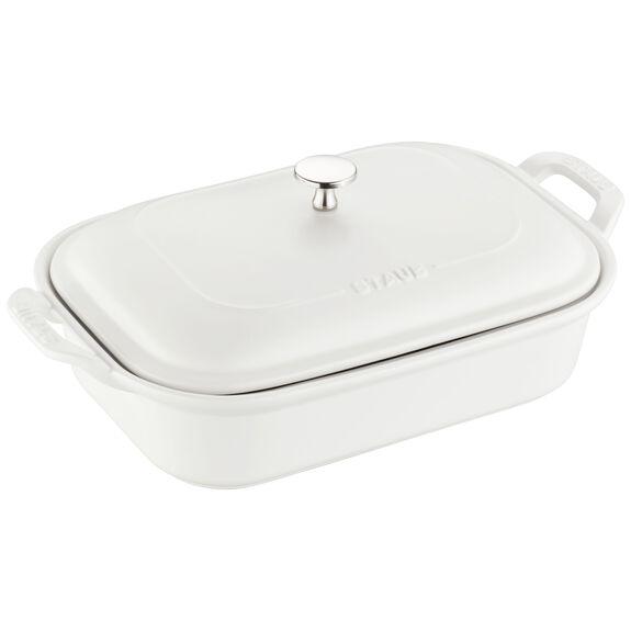 Ceramic Rectangular Covered Baking Dish, Matte White,,large