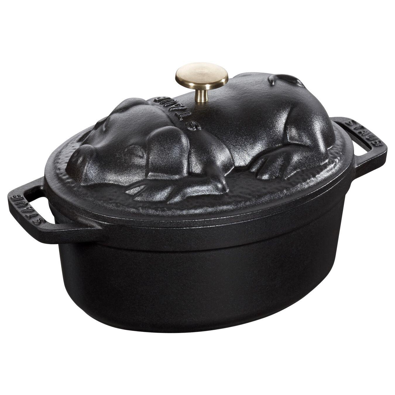 Cocotte 17 cm, Ovale, Noir, Fonte,,large 1