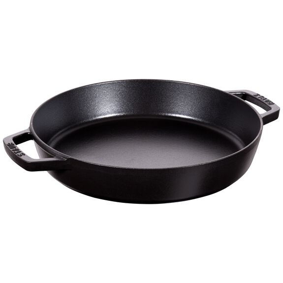 13.5-inch round Enamel Paella pan, Black - Visual Imperfections,,large
