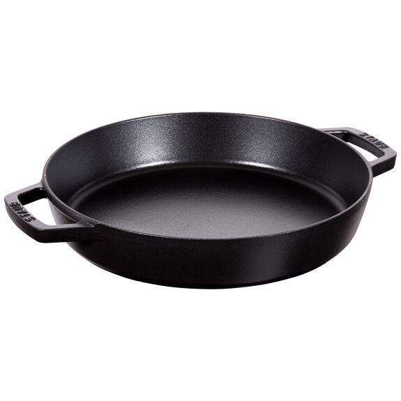 13.5-inch round Enamel Paella pan, Black,,large