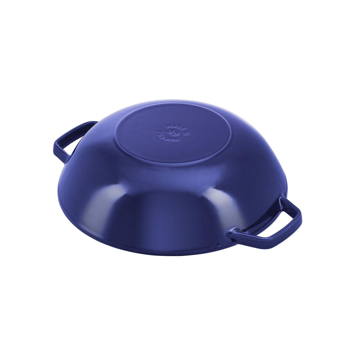 Wok con coperchio in vetro rotondo - 30 cm, blu scuro,,large 3