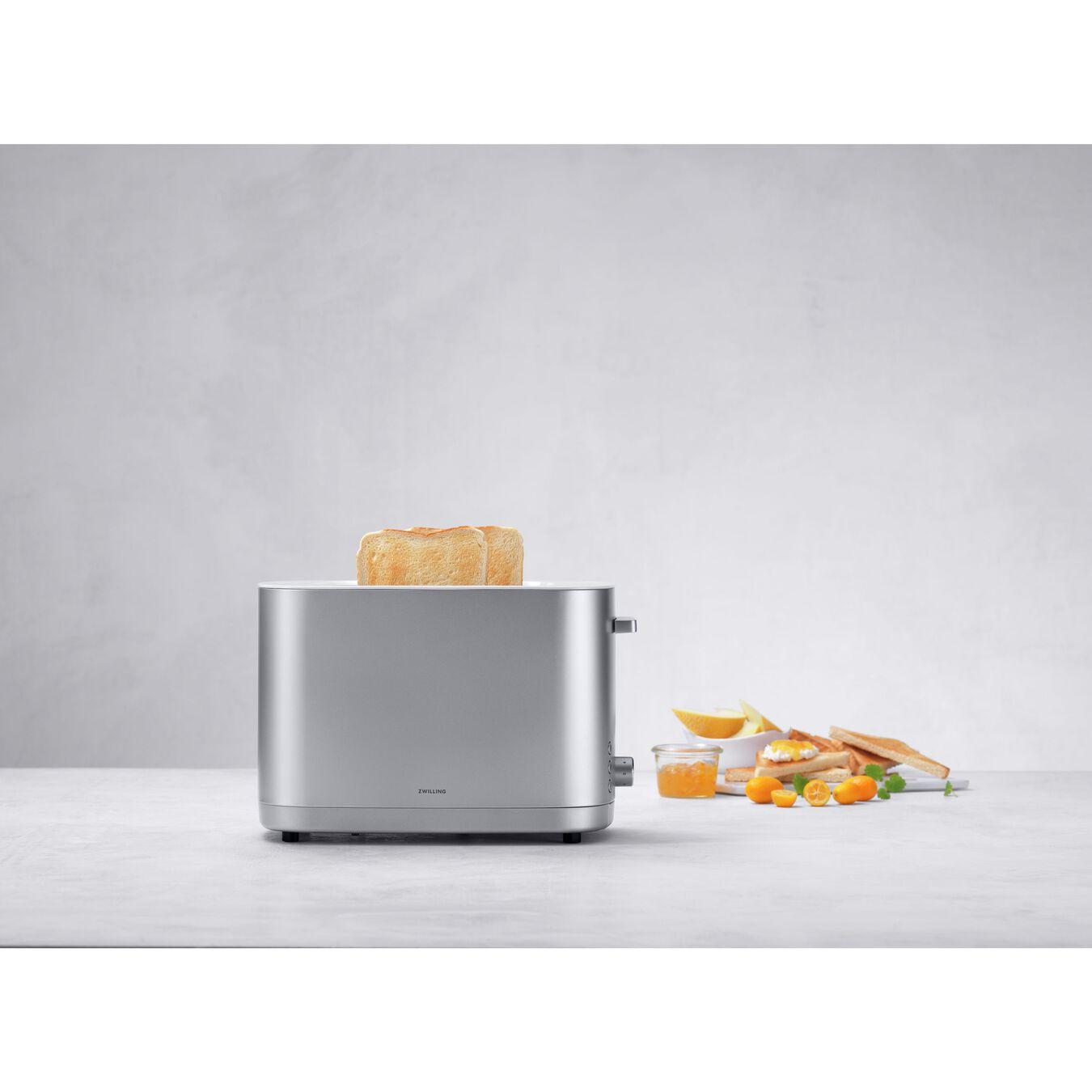 Toaster mit Brötchenaufsatz, 2 Schlitze kurz, Silber,,large 3