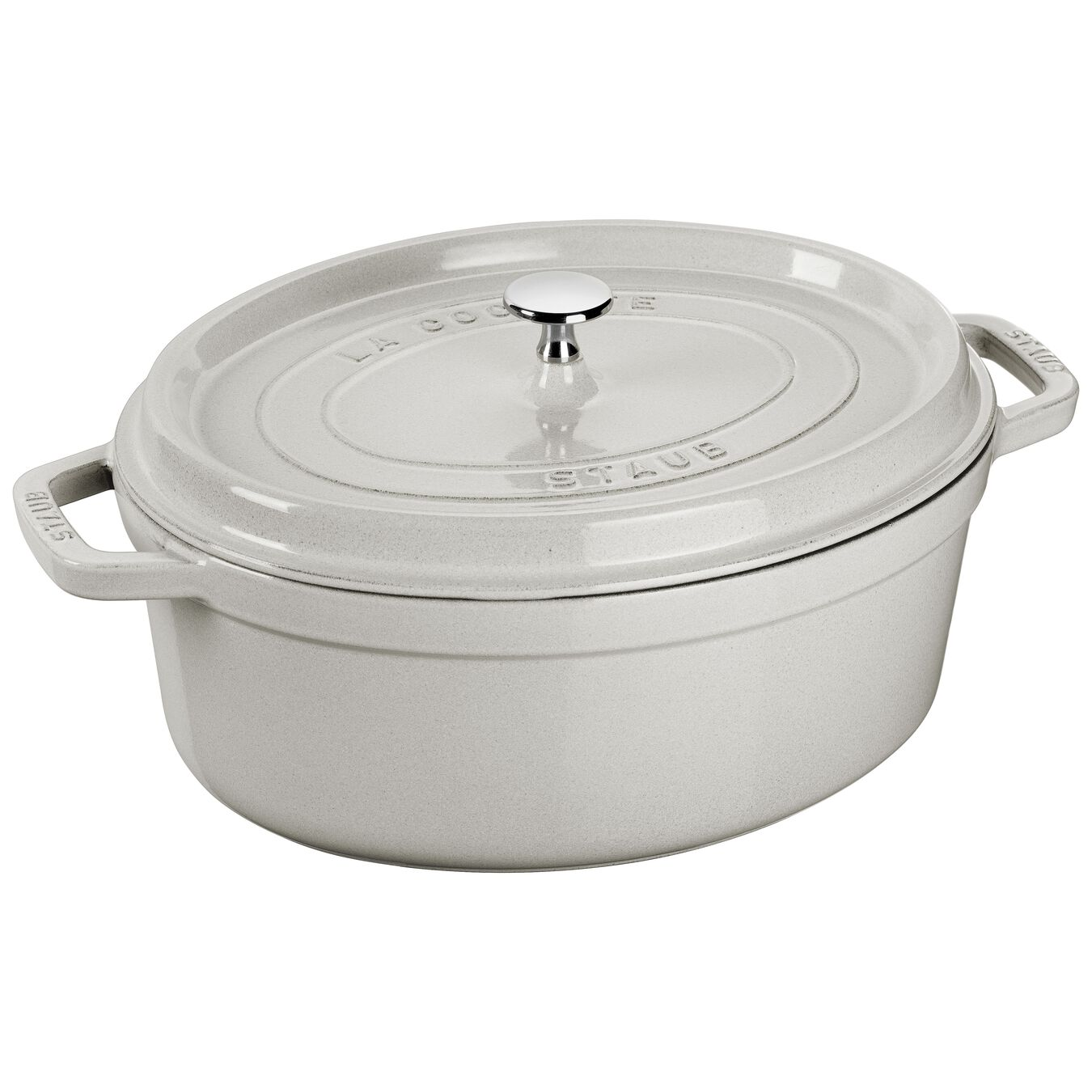 3.25 l Cast iron oval Cocotte, White Truffle,,large 1