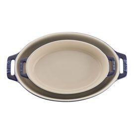 Staub Ceramics, 2-pc, oval, Bakeware set, dark blue