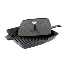 Staub Cast Iron, 12-inch Square Grill Pan & Press Set - Dark Blue