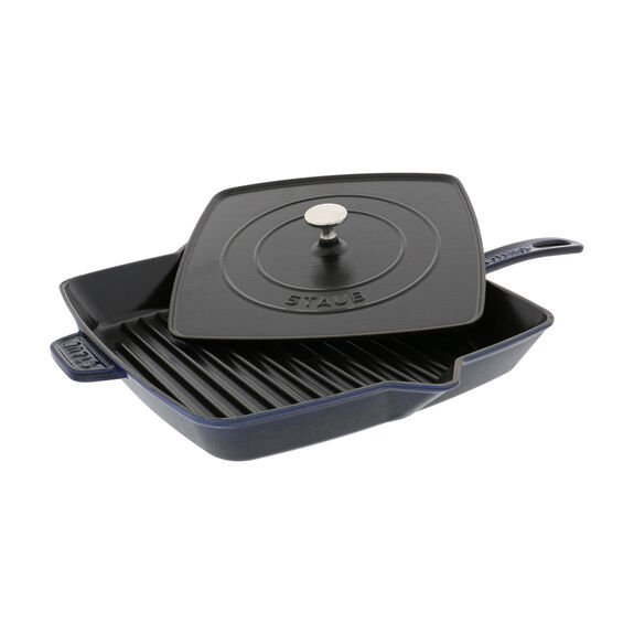 12-inch Square Grill Pan & Press Set - Dark Blue,,large