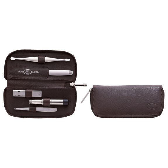 5-pc Leather Zip fastener case,,large