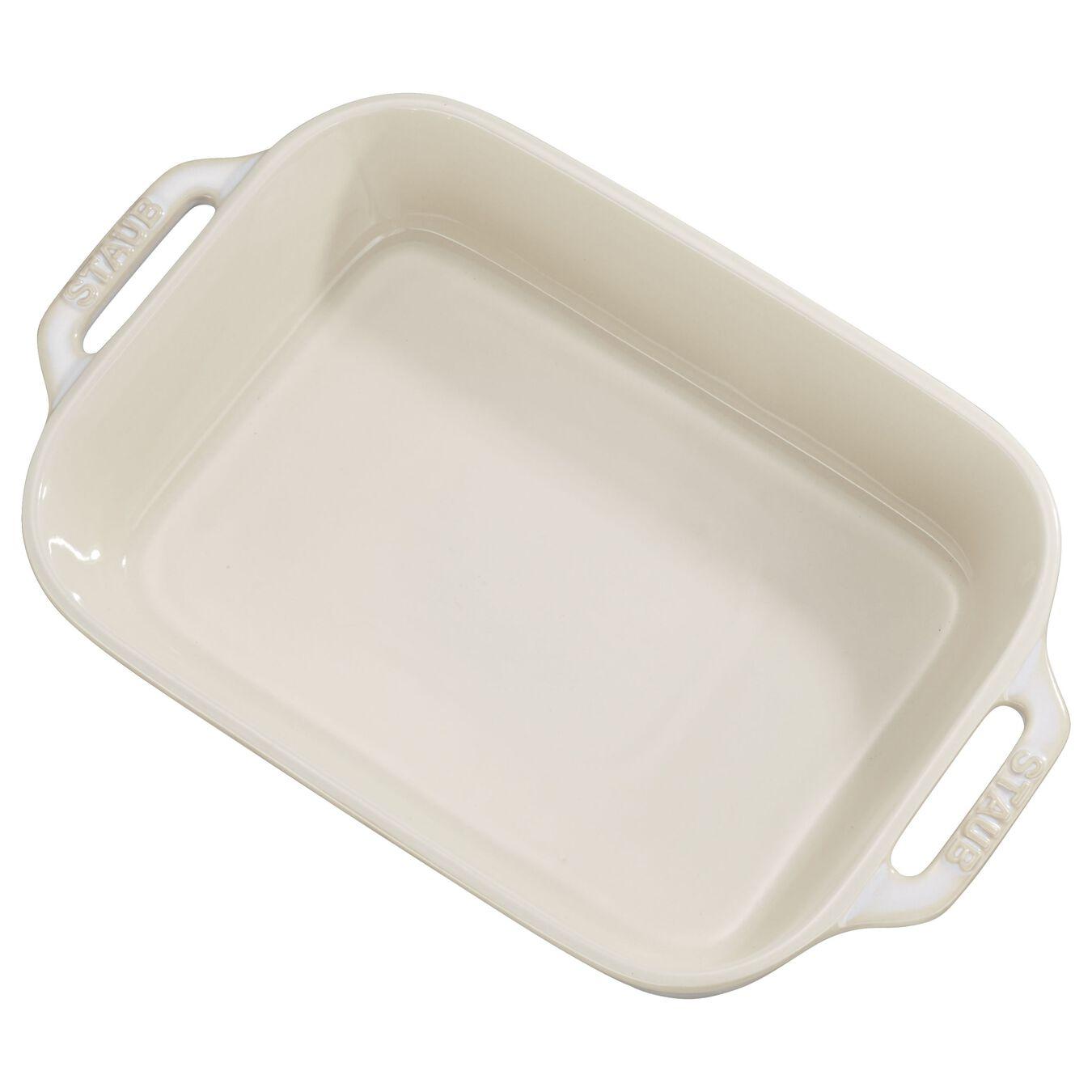 2-pcs square Ensemble plats de cuisson pour le four, Ivory-White,,large 3