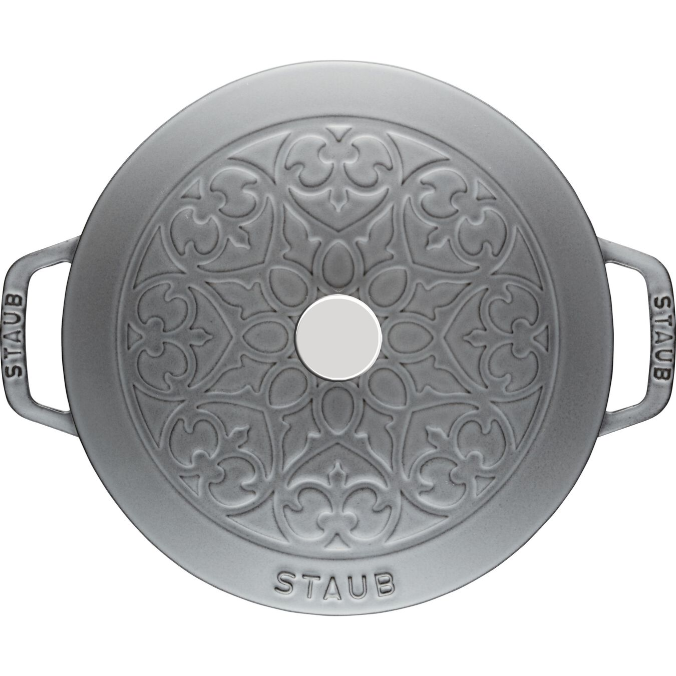 3.6 l round French Oven, lily decal, graphite-grey,,large 2