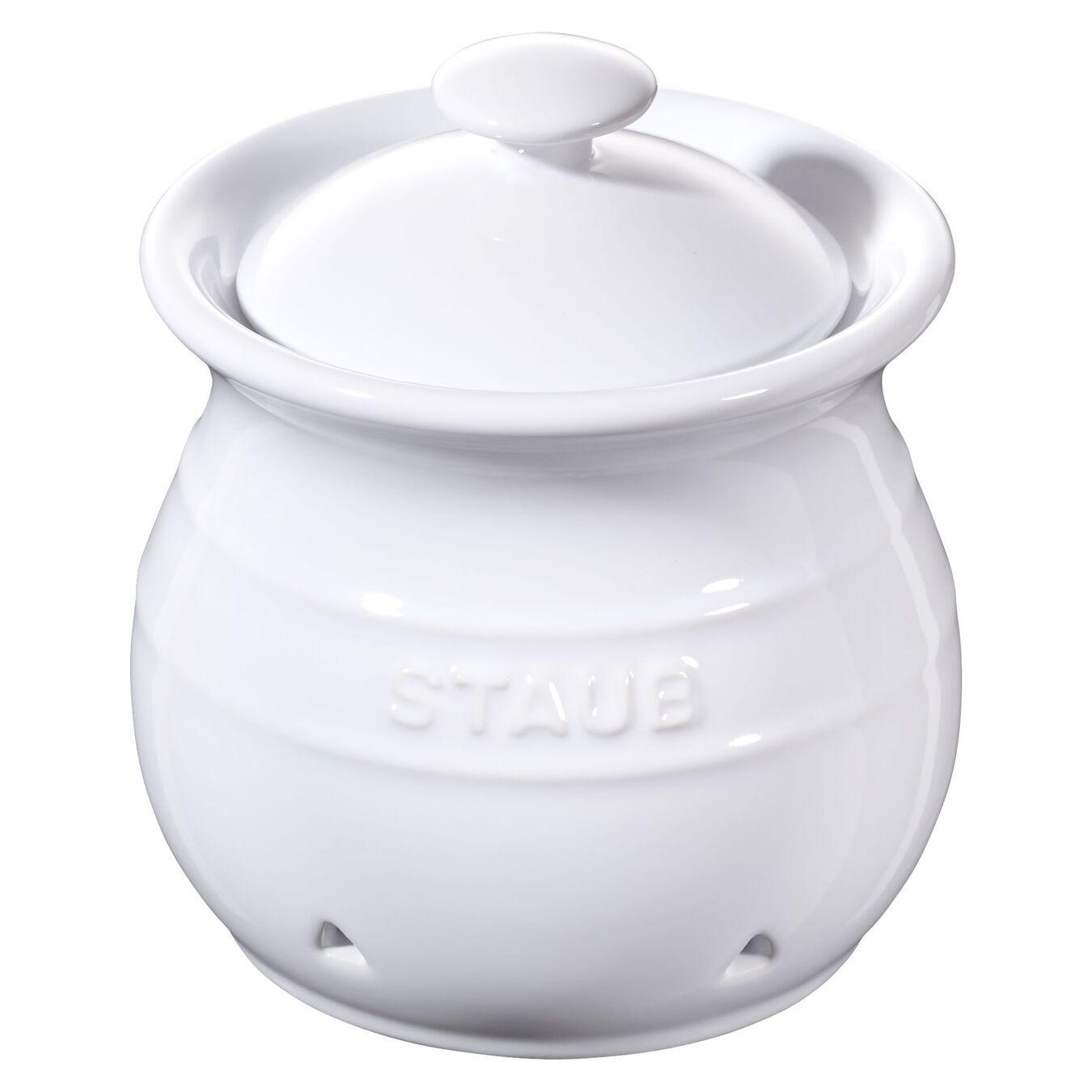 10 cm Ceramic Pot à ail, Pure-White,,large 1