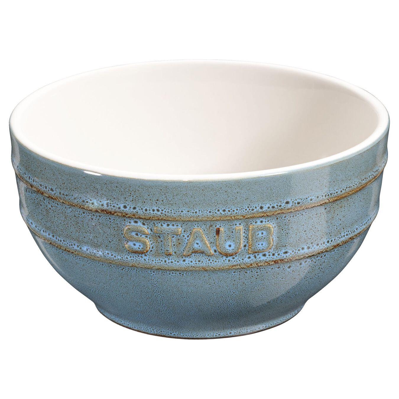 17 cm Ceramic round Bol, Ancient-Turquoise,,large 1