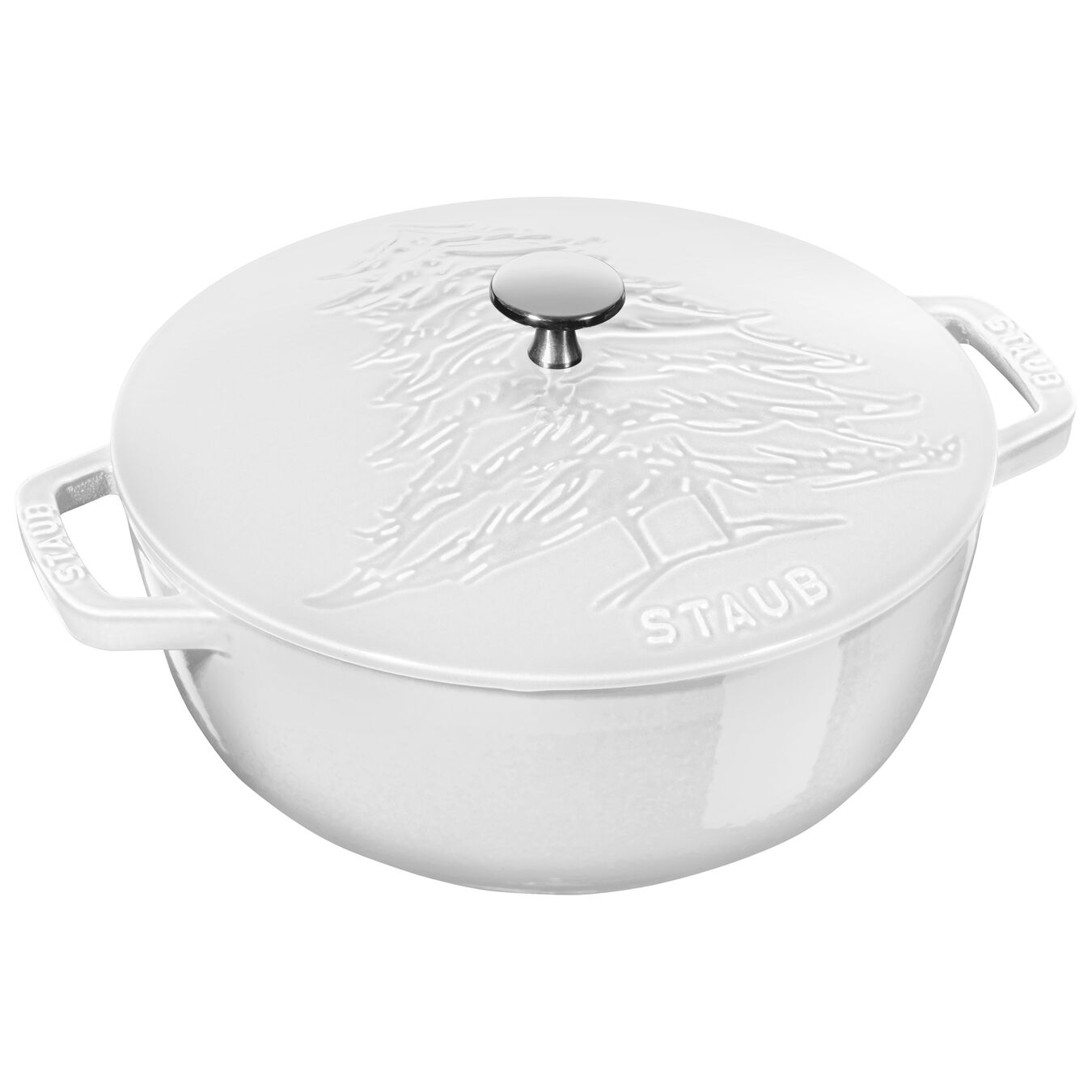 3.75-qt Essential French Oven w/Pine Tree Lid - Visual Imperfections - White,,large 1