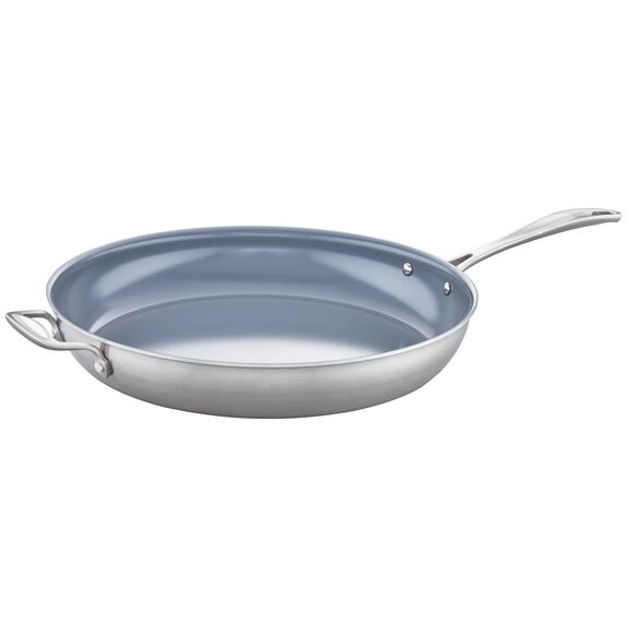 3-ply 14-inch Stainless Steel Ceramic Nonstick Fry Pan,,large 3