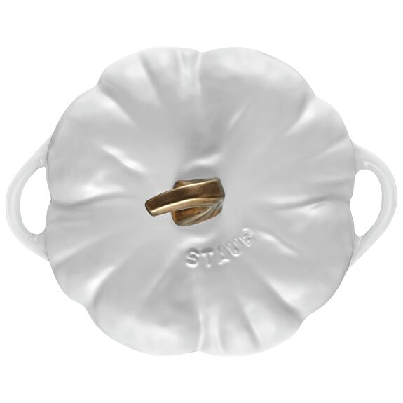 3.65-qt Pumpkin Cocotte, White,,large 2