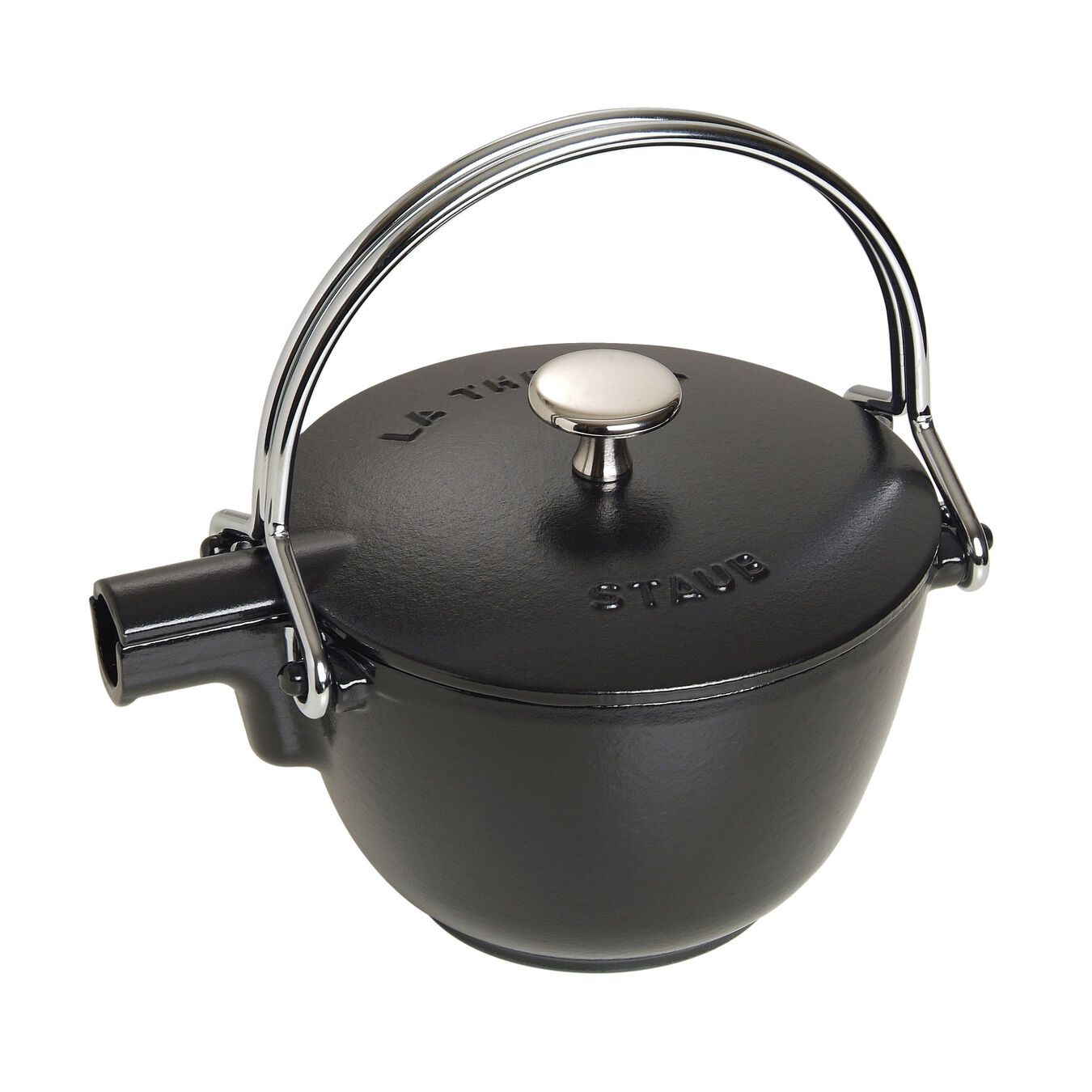 1.25 qt, round, Tea pot, black matte,,large 2