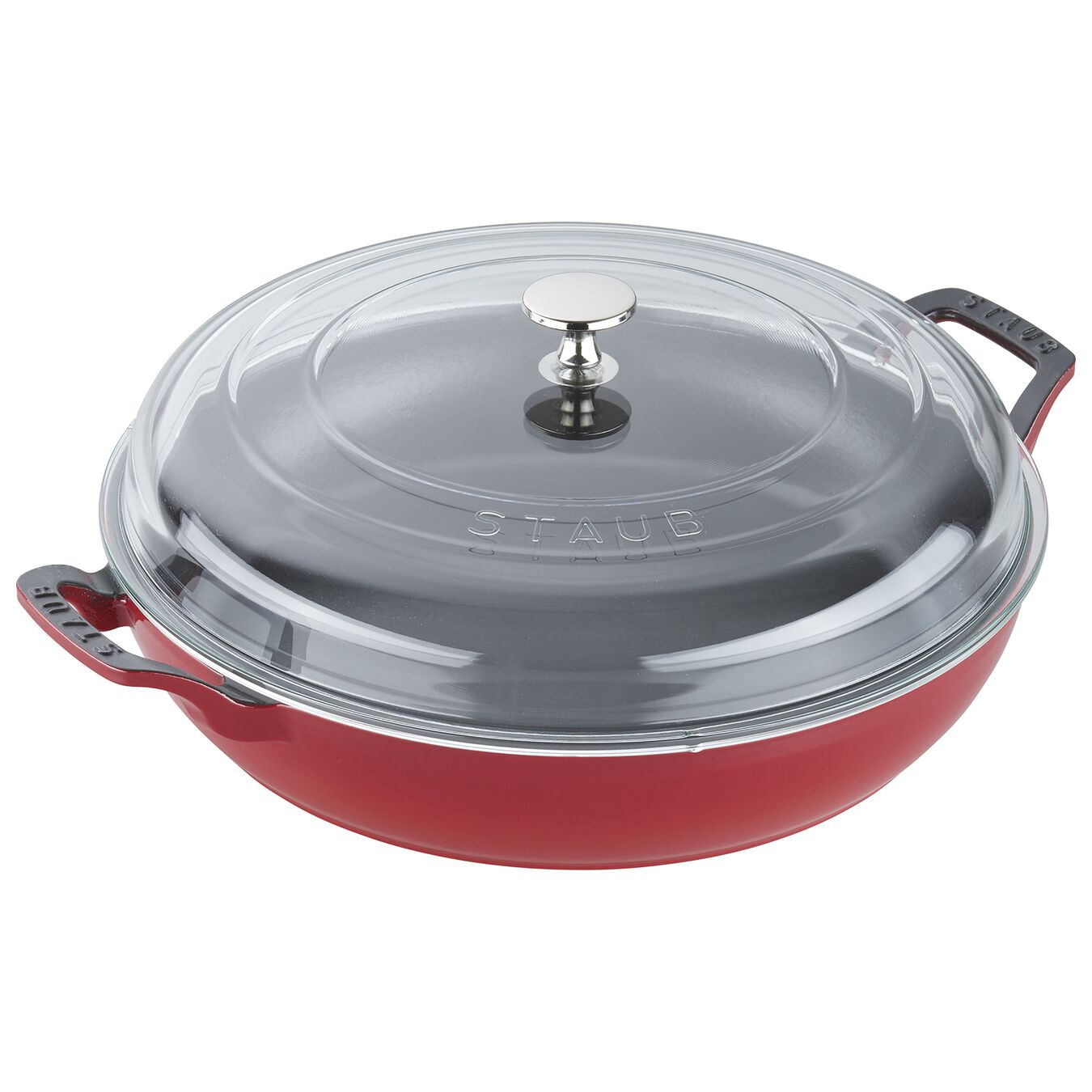 12-inch, Braiser with Glass Lid, cherry,,large 1