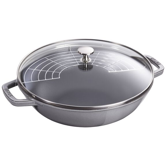 30-cm-/-12-inch Enamel Wok with glass lid, Graphite-Grey,,large 3