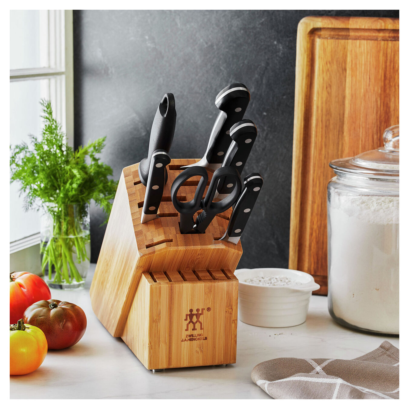 7-pc, Knife block set, bamboo,,large 8