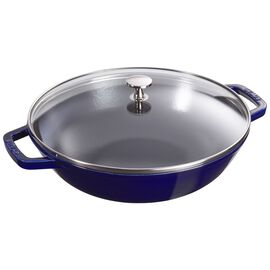 Staub Cast Iron, 12-inch Enamel Wok with glass lid, Dark Blue