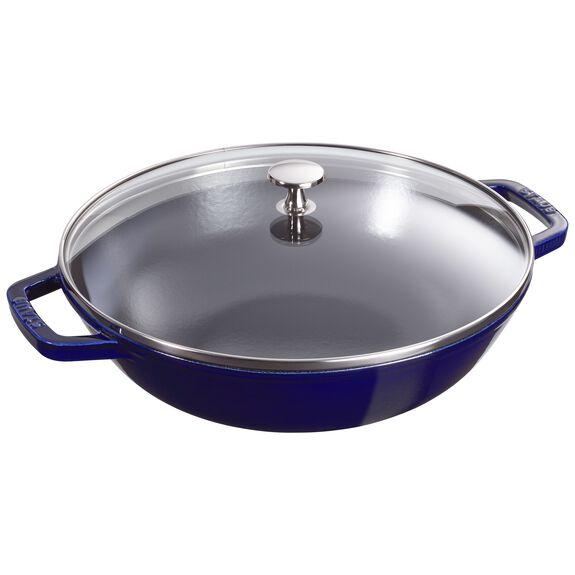 12-inch Enamel Wok with glass lid, Dark Blue,,large