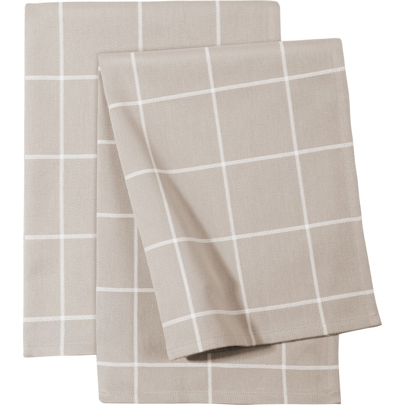 2 Piece Cotton Kitchen towel set checkered, taupe,,large 1