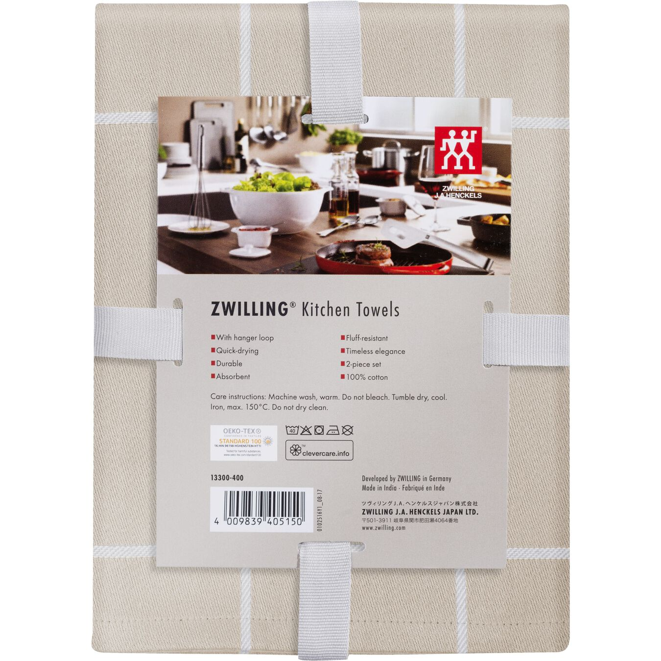 Küchenhandtuch Set kariert, 2-tlg | Taupe,,large 2