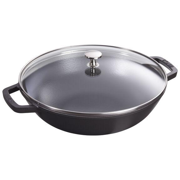 Wok Tava Cam Kapaklı, Yuvarlak | Sıvı Cam | Siyah,,large