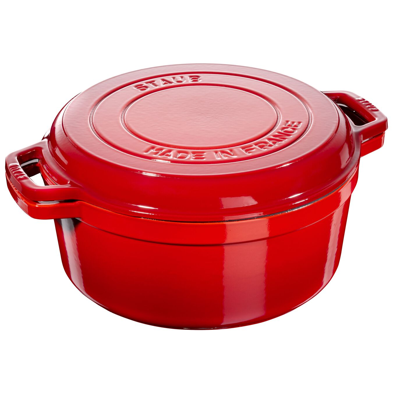 6 l Cast iron round Braise + Grill, Cherry - Visual Imperfections,,large 1