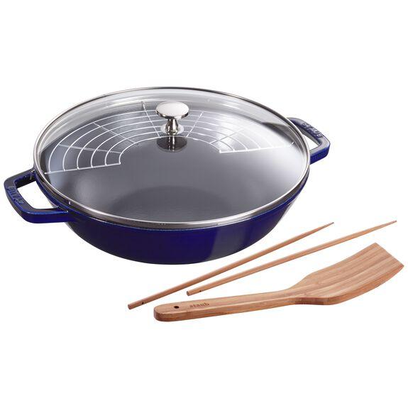 12-inch Enamel Wok with glass lid, Dark Blue,,large 2