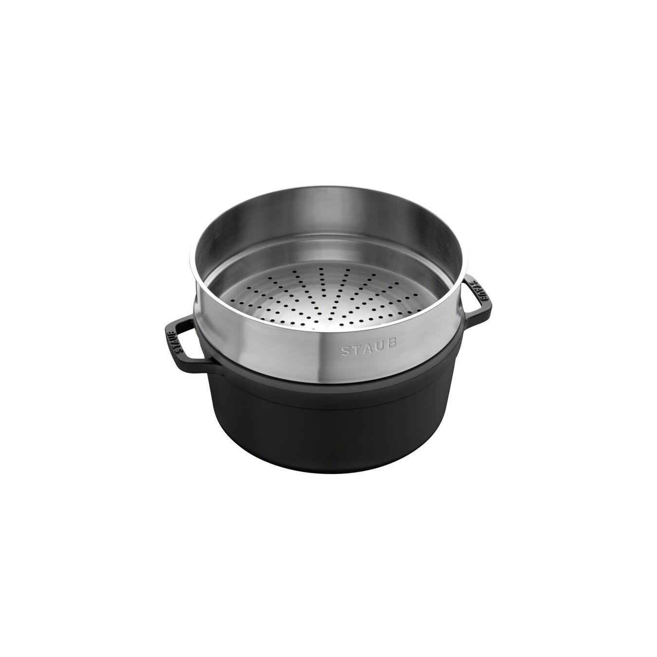 Döküm Tencere Buharlı Pişirici ile | Siyah | 26 cm | 5,25 l | yuvarlak,,large 2