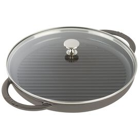Staub Cast Iron, round, Grill pan with glass lid, graphite grey