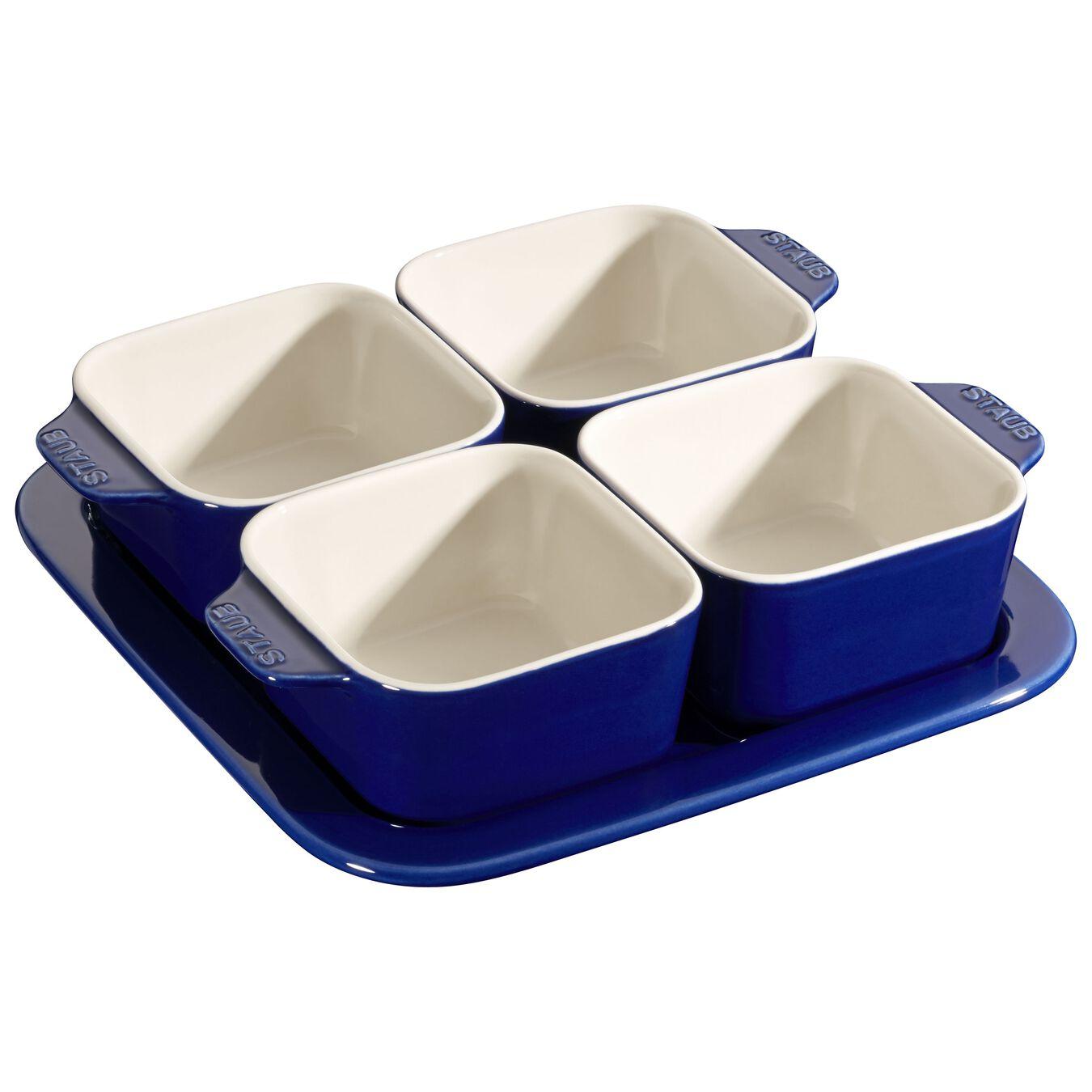 5 Piece Ceramic Appetiser set, Dark-Blue,,large 1
