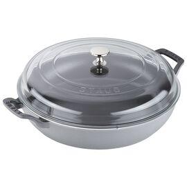 Staub Cast Iron - Braisers/ Sauté Pans, 12-inch, Braiser with Glass Lid, graphite grey