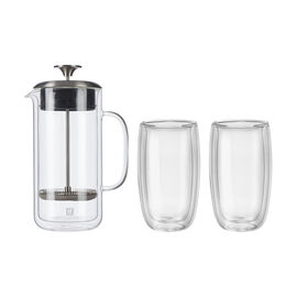 ZWILLING Sorrento Double Wall Glassware, 3-pc French Press and Latte Glass Set