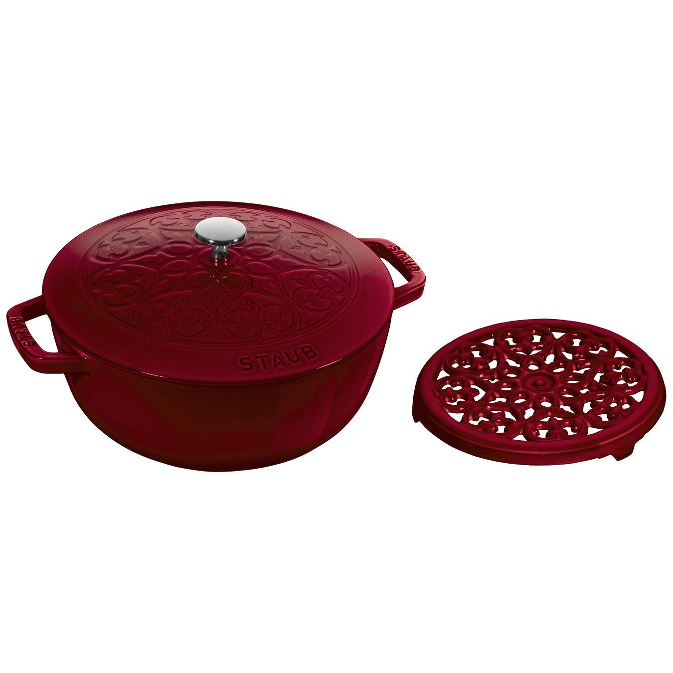 Pot set, lily decal, 2 Piece | round | cast iron | Bordeaux,,large 1
