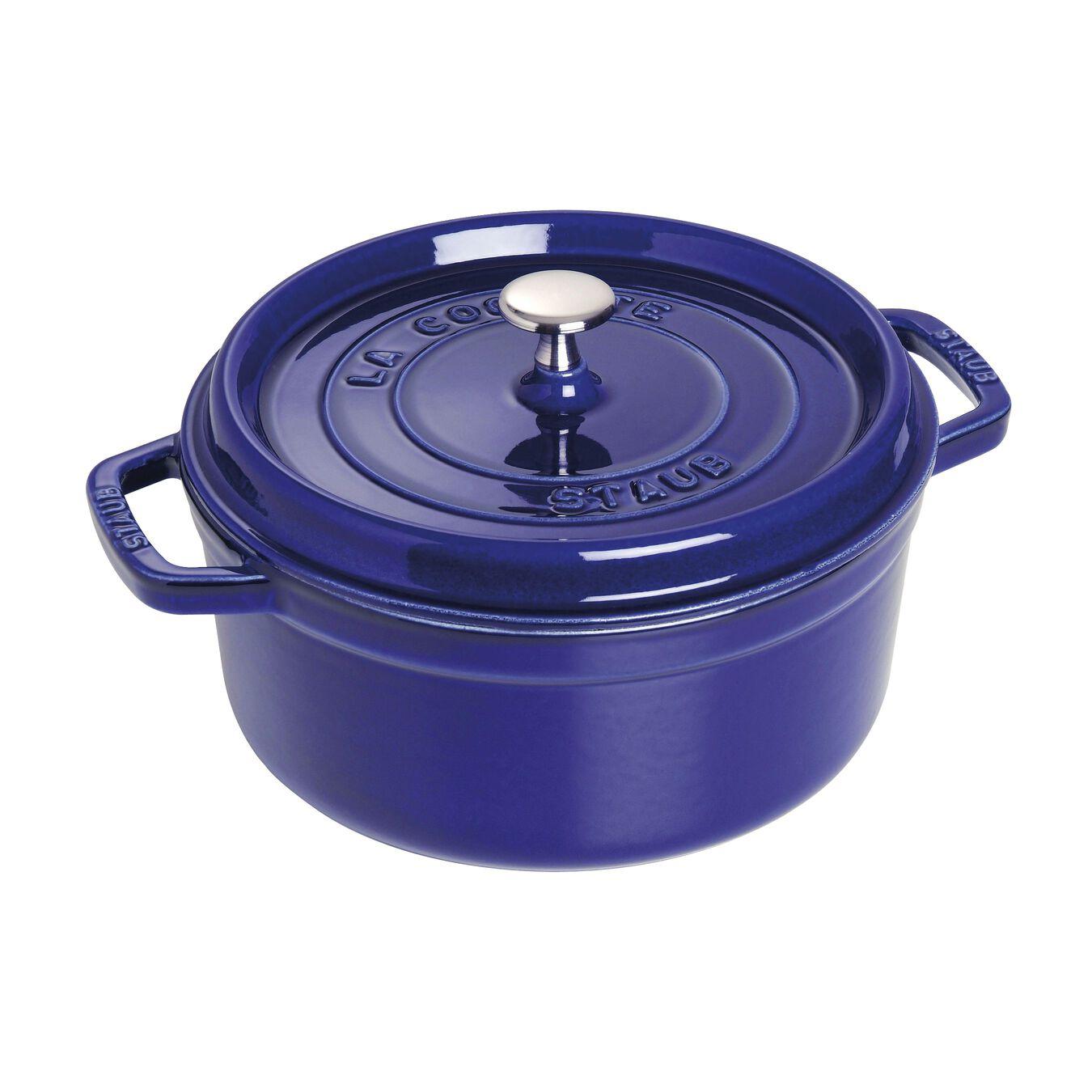 Cocotte rotonda - 22 cm, blu scuro,,large 1