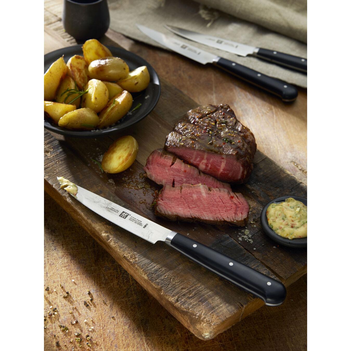 4-pc, Porterhouse steak knife set in beechwood box ,,large 8
