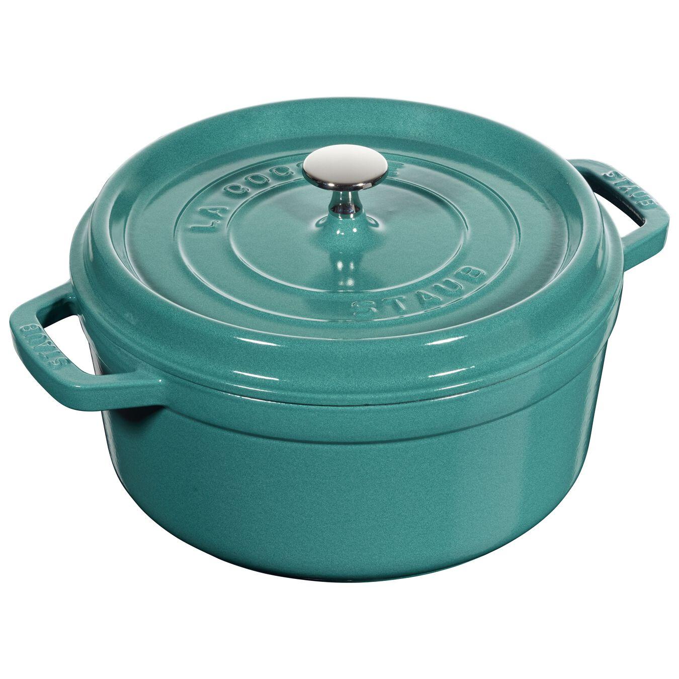 4 qt, round, Cocotte, turquoise,,large 1