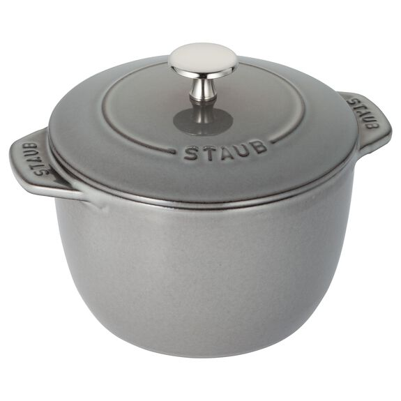 6.5-inch round Cast iron Rice Cocotte, Graphite Grey,,large