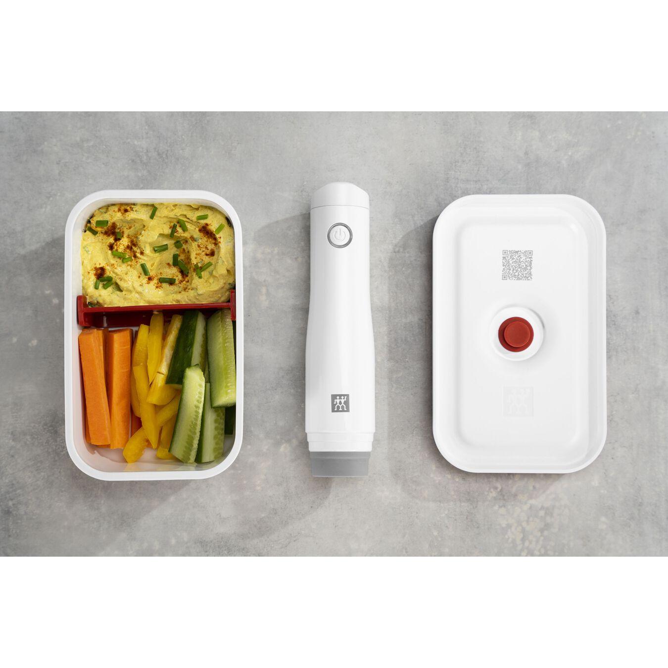 Vakuum Lunchbox, M, Kunststoff, Weiß-Rot,,large 7