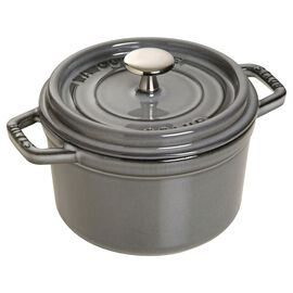 Staub Cast Iron, 1.25-qt Round Cocotte - Graphite Grey