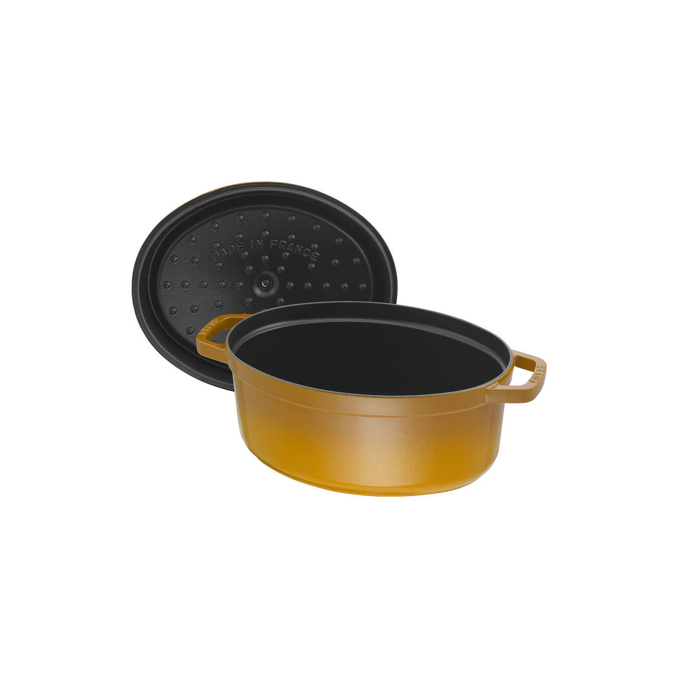 5.5 l Cast iron oval Cocotte, Mustard,,large 5