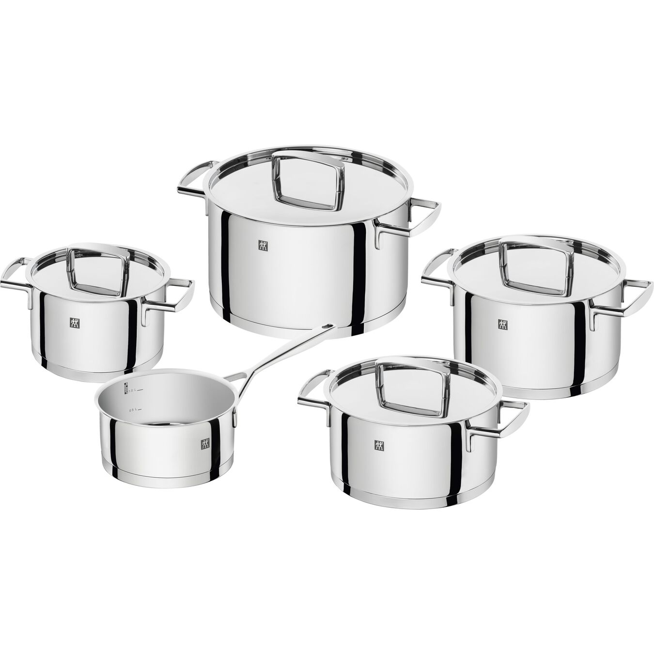 Ensemble de casseroles 5-pcs, Inox 18/10,,large 1