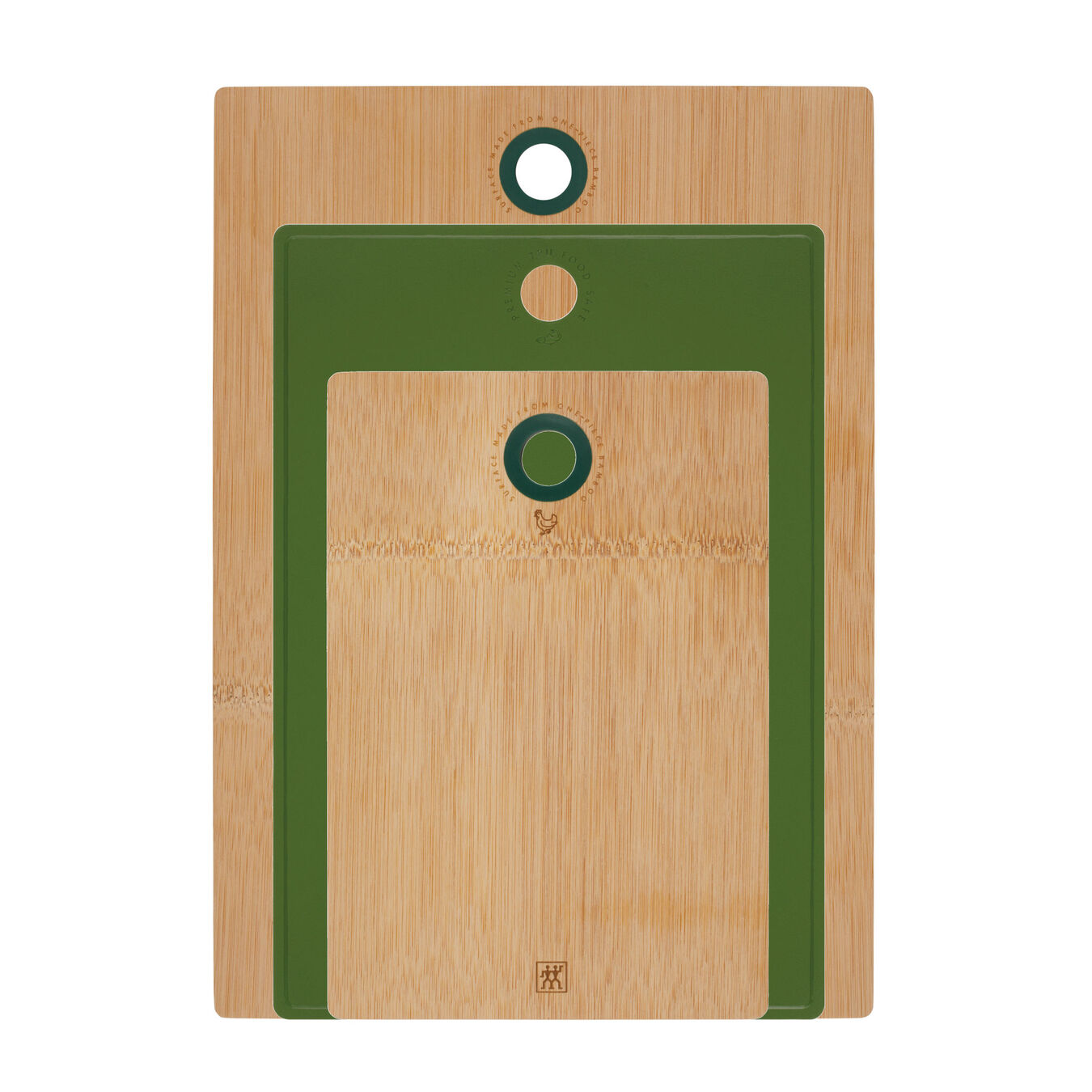 Cutting board set, 3 Piece | bamboo | lime-green,,large 1
