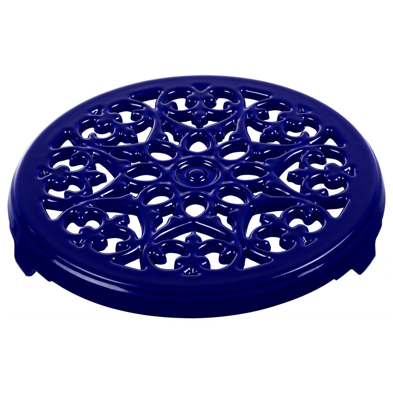 23 cm round Cast iron Trivet, lily decal, dark-blue,,large 1