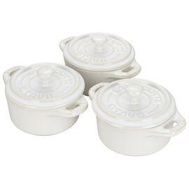 Staub Ceramics, 3-pc round Cocotte set, Ivory