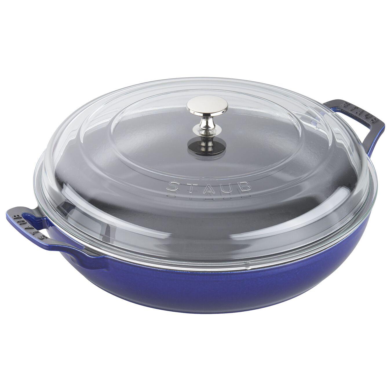 12-inch, Braiser with Glass Lid, dark blue,,large 1