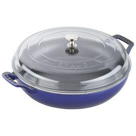 Staub Cast Iron - Braisers/ Sauté Pans, 12-inch, Braiser with Glass Lid, dark blue