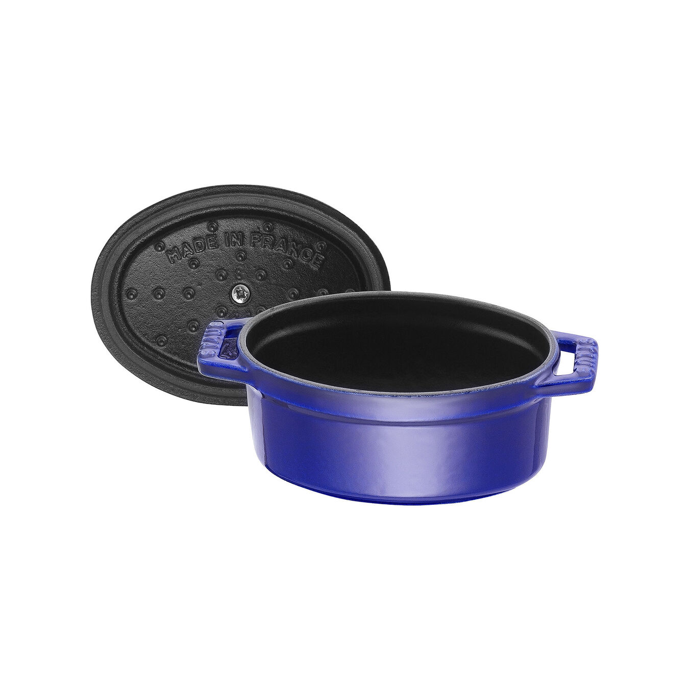 Mini Cocotte 11 cm, Ovale, Bleu intense, Fonte,,large 5