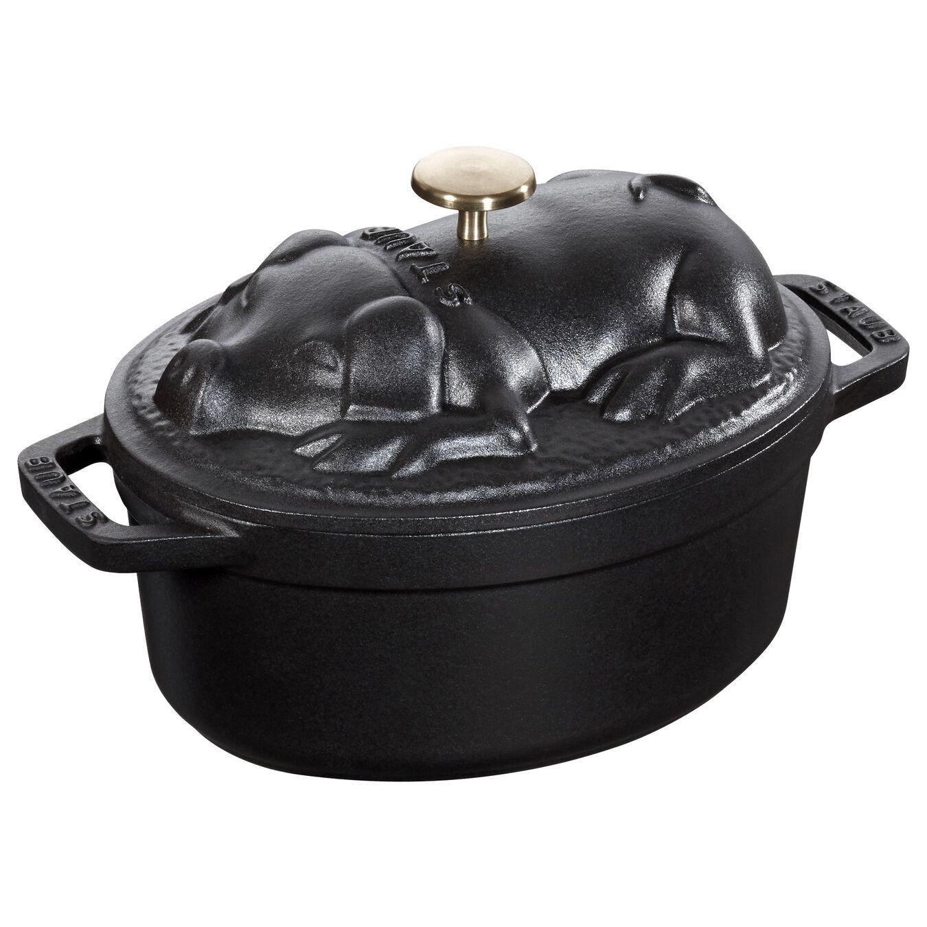 Cocotte 17 cm, Ovale, Noir, Fonte,,large 2
